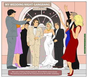 Hotwifecomics – My wedding night gangbang